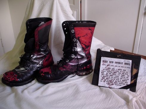 ruby red combat boots